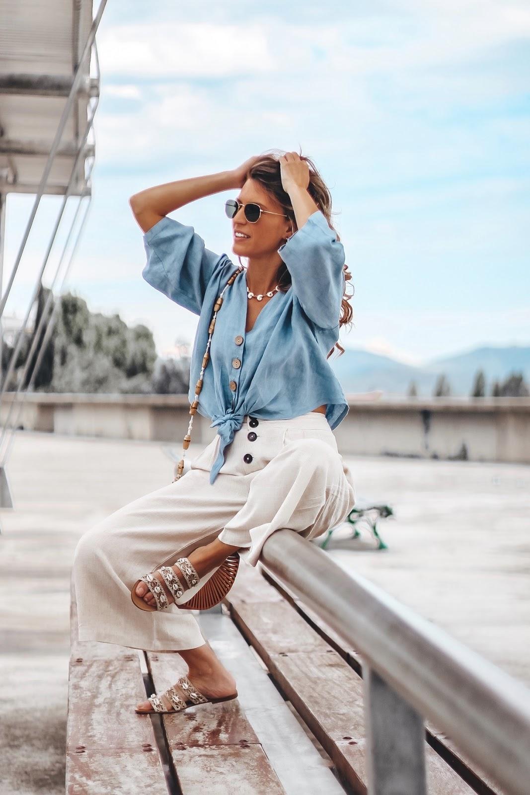 blusa d lino con botones