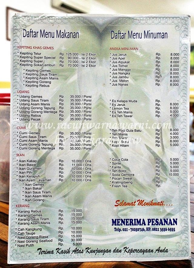 Daftar Harga dan Menu