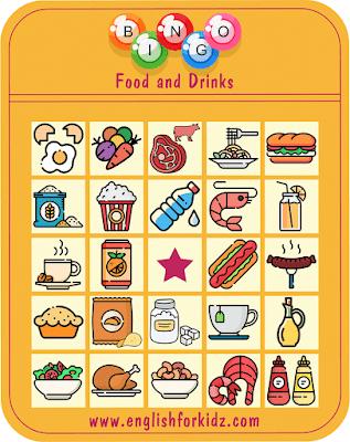 Printable food and drinks bingo for ESL students