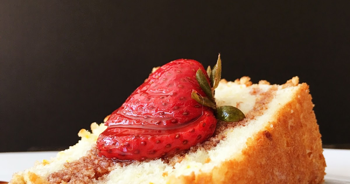 Orange Angel Food Cake with Balsamic Strawberries