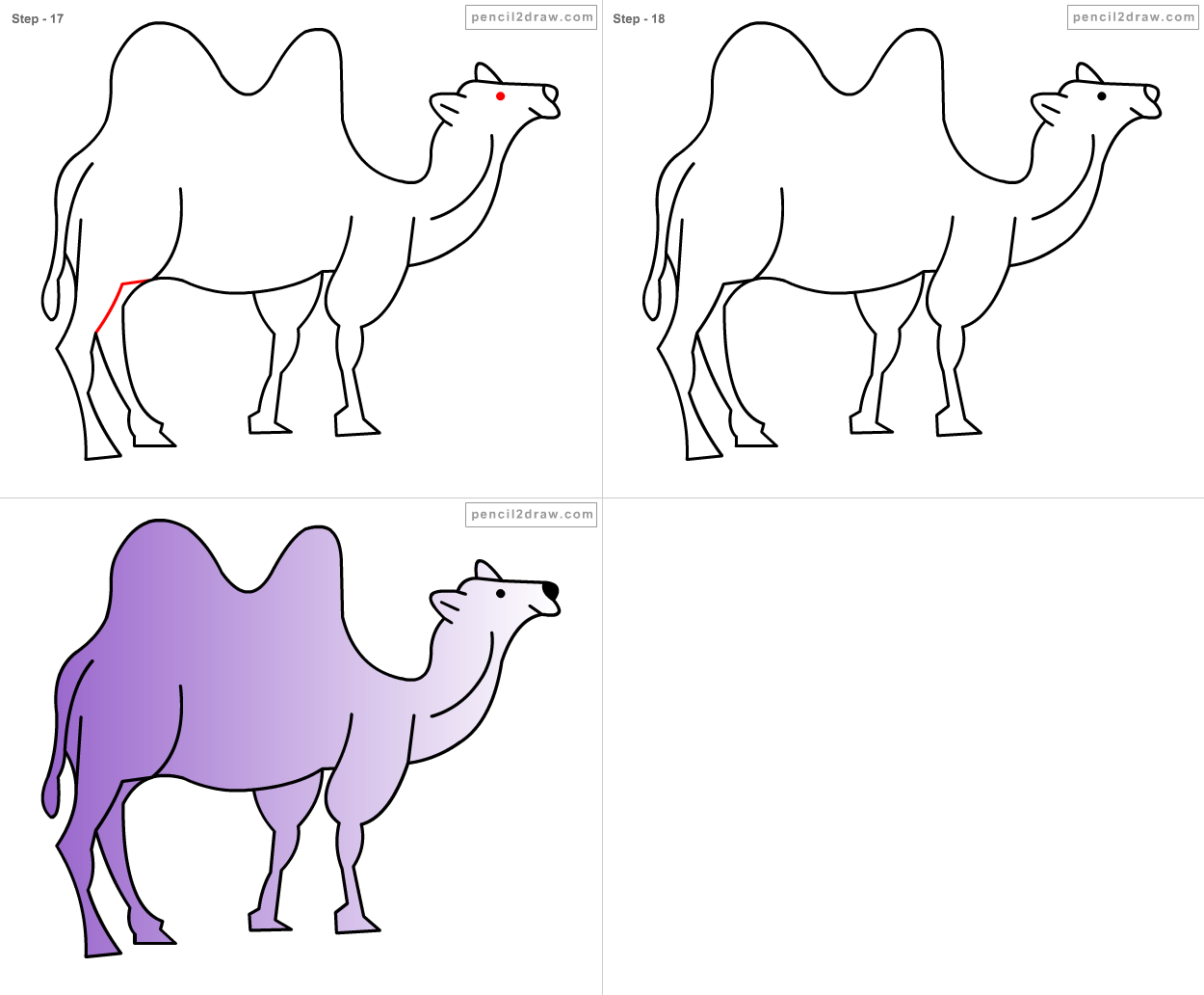This is an image of Sassy Simple Camel Drawing