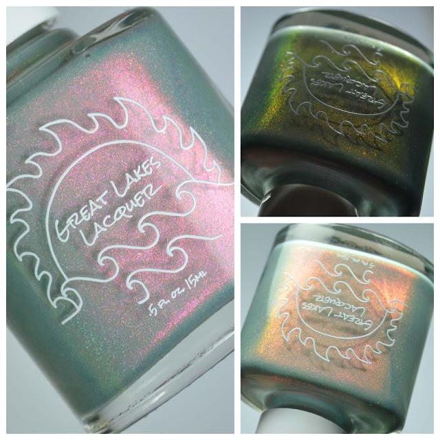 grey green shimmer nail polish in a bottle