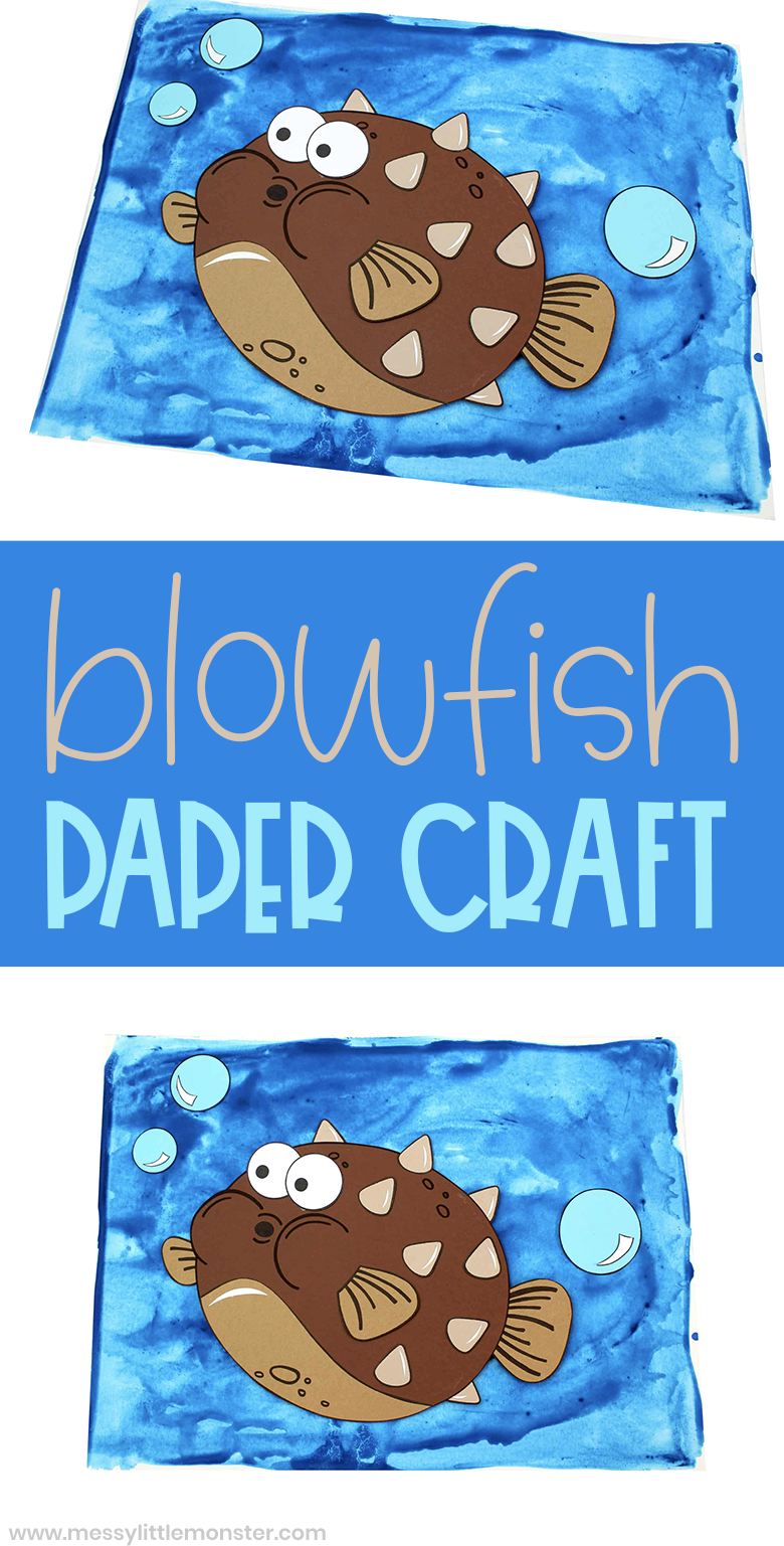 Blowfish craft. Ue our printable fish template to create your fish paper craft for kids.