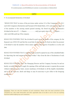 Board Resolution for Recommendation of Dividend