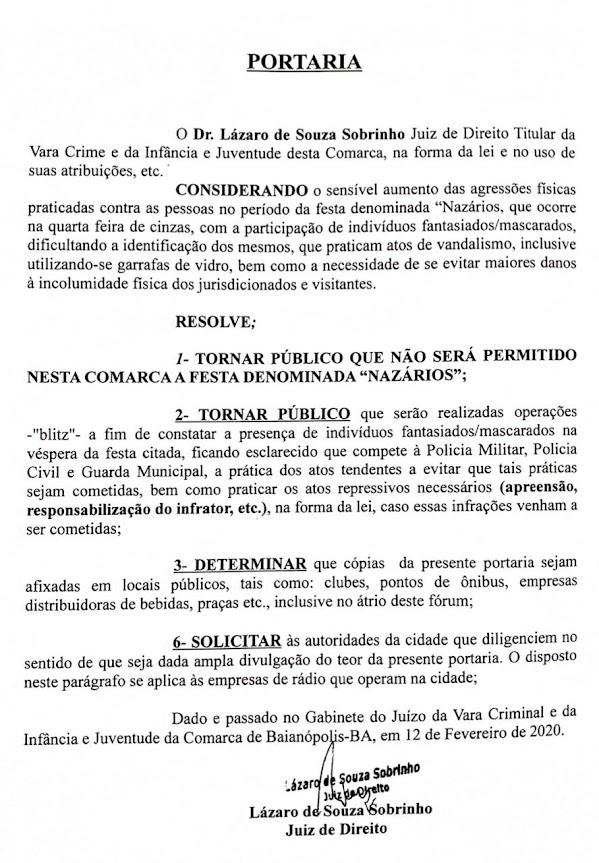 """Justiça mantém decisão de proibir os """"Nazaros"""" em Baianópolis"""