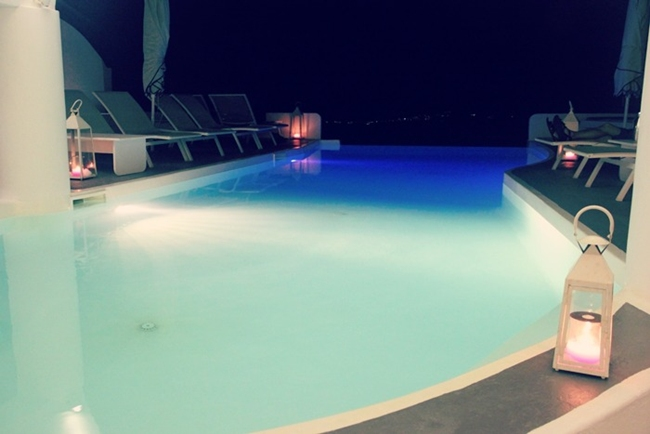 Chromata hotel pool at night