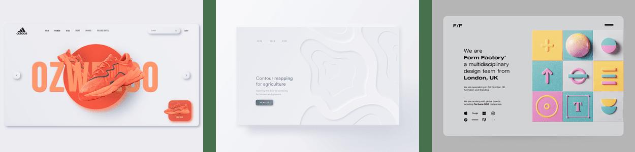 three examples of the neumorphism web design trend