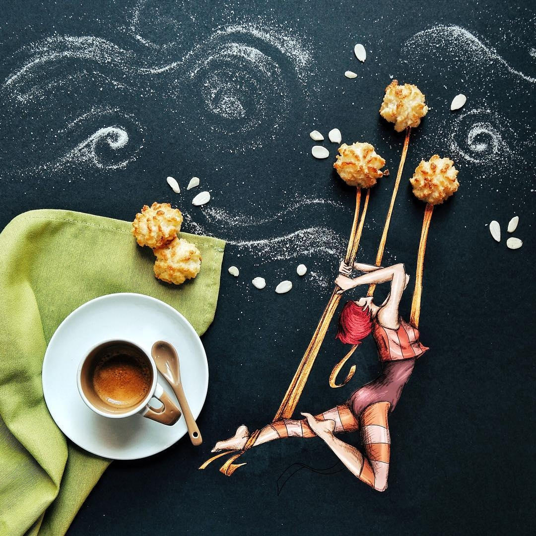 06-And-I-must-be-an-Acrobat-Cinzia-Bolognesi-The-Coffee-Rituals-and-Illustrated-Compositions-www-designstack-co