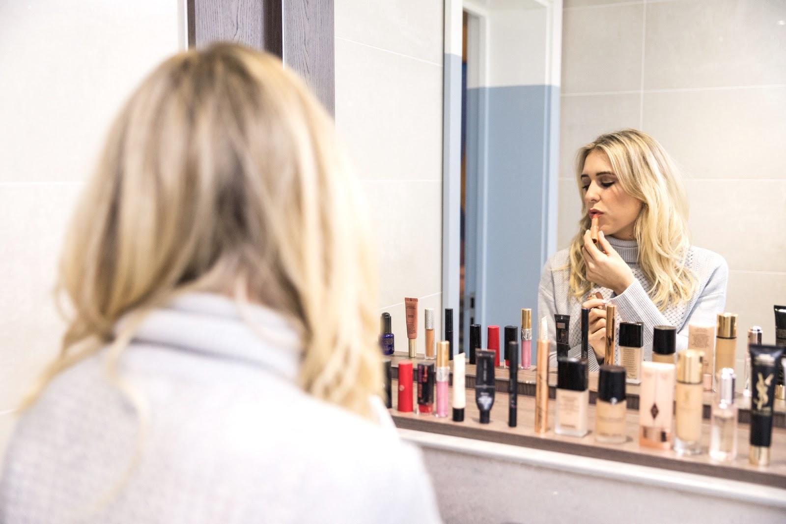 lipstick in mirror shot