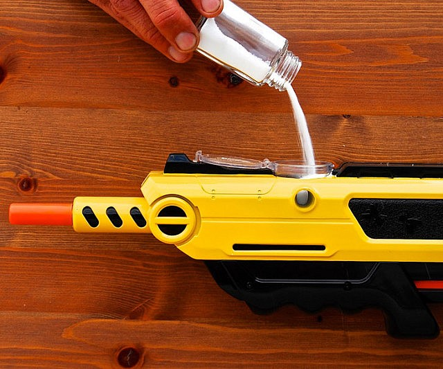 Solve your fly problem once and for all with the salt firing shotgun. The shotgun works with regular table salt and holds up to 50 rounds so you can annihilate every pesky house fly in one murderous evening. It also works great for violently seasoning your food!
