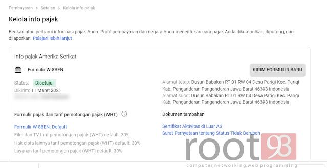Cara Mengatur Informasi Pajak Youtube Adsense - root93