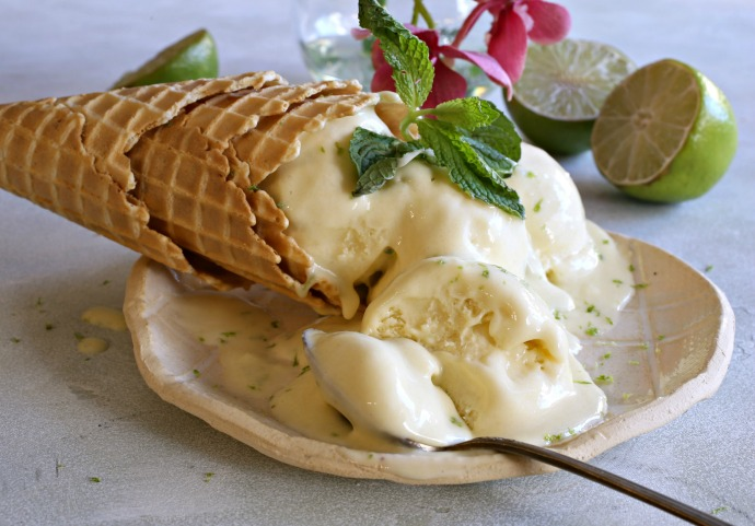 Creamy coconut ice cream flavored with lime.