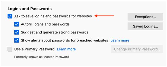تعطيل حفظ تسجيل الدخول المنبثقة في Firefox