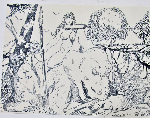 THE HUNTER - A 1978 Campello drawing done in the style of Frank Frazetta