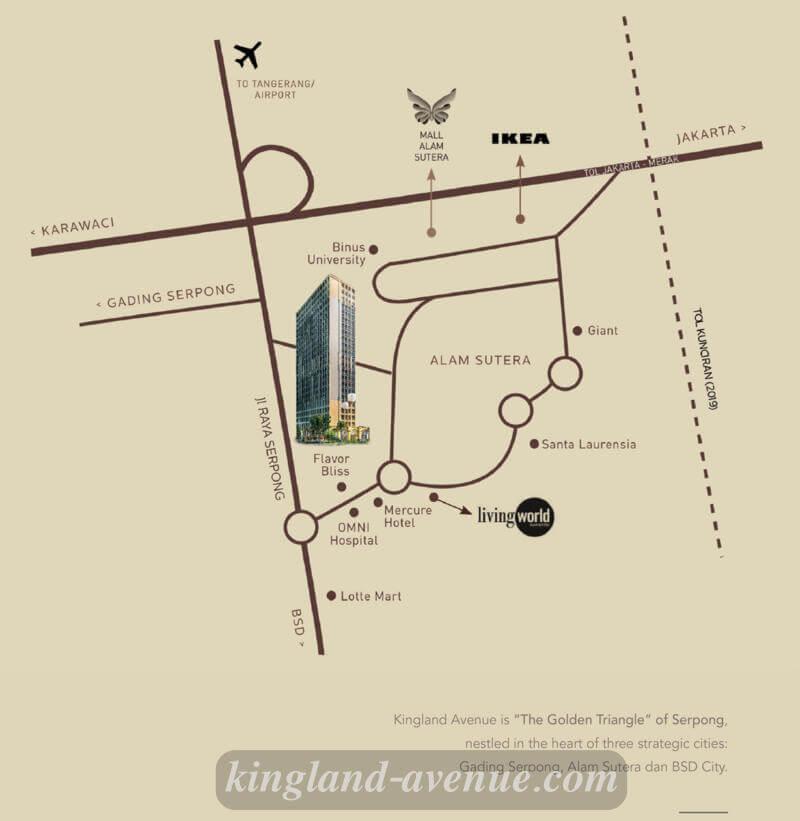 Peta Lokasi Apartemen Kingland Avenue
