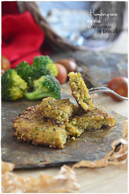 Hamburguesa vegetal de quinoa y brécol