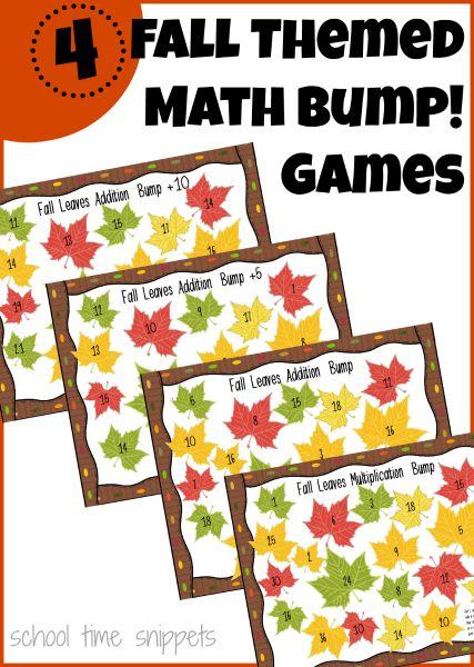 4 Math Bump! Games for Children 1st-3rd Grade; cute fall themed printable!