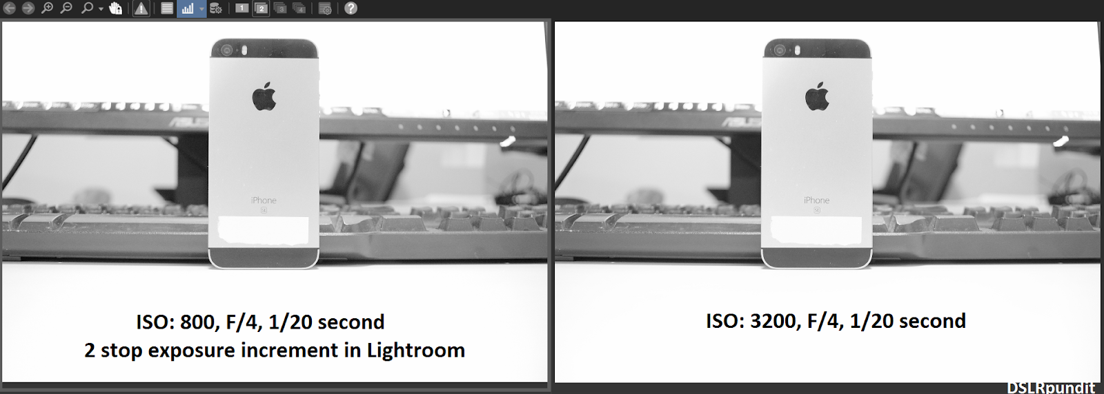 Lower ISO noise comparison