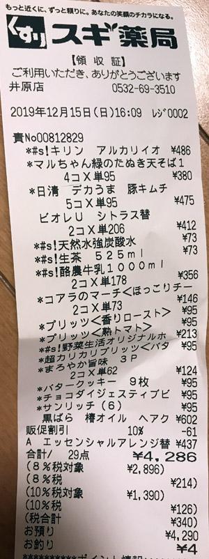 スギ薬局 井原店 2019/12/15 のレシート