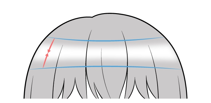 Contoh gambar highlight gradien rambut anime