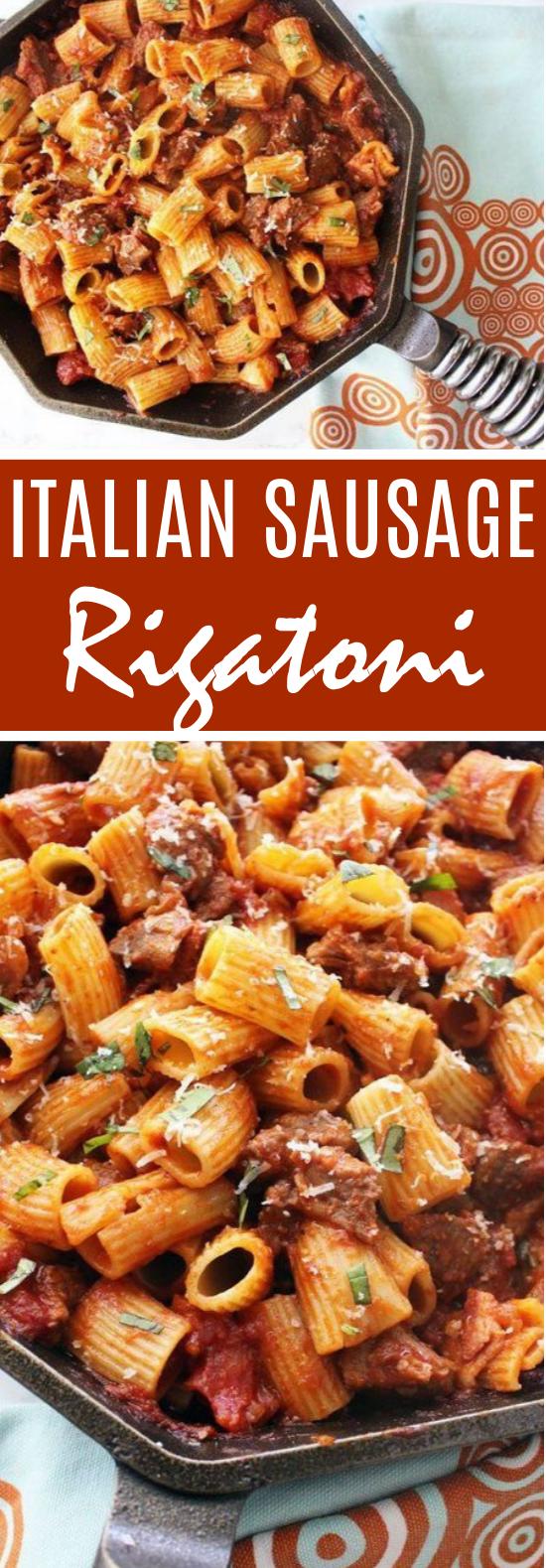 Rigatoni with Italian Sausage #pasta #dinner #weeknight #recipes #sausage