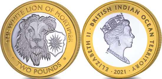British Indian Ocean Territory 2 pounds 2021 - The Queen's Beasts - The White Lion of Mortimer