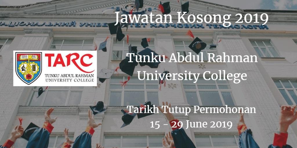 Jawatan Kosong TARUC 15 - 29 June 2019