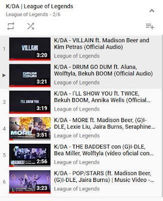 lista de música de kda en youtube