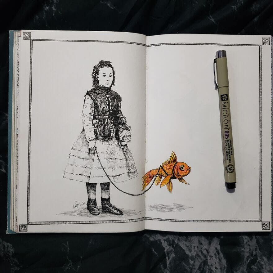 11-Victorian-Girl-and-Goldfish-Andy-Saputo-www-designstack-co