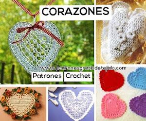Patrones de corazones para tejer a crochet 💗💗💗💗💗