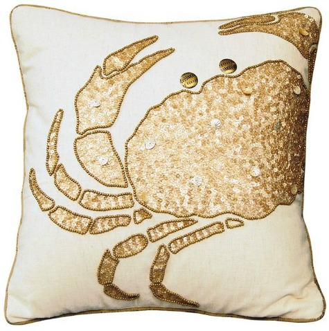 Gold Coastal Crab Pillow