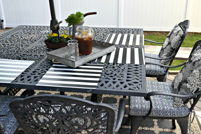 Black and white table setting with tray and iced tea