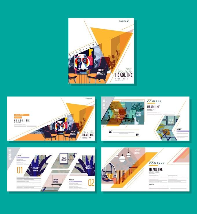 Corporate brochure templates furniture decor colorful classic Free vector