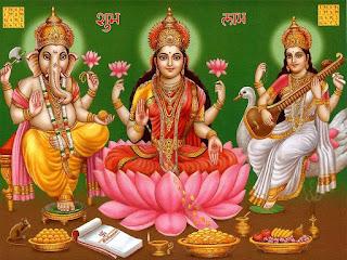 God Ganesha, Maa Laxmi & Maa Sarswati Image