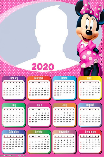 Minnie in Pink: Free Printable 2020 Calendar.