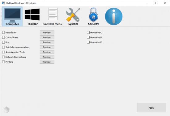 Recursos ocultos portáteis do Windows 10 1.3.0 (x64) Download Grátis