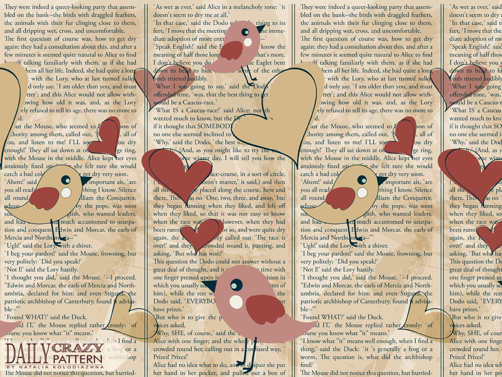 Cute pattern with book page as background