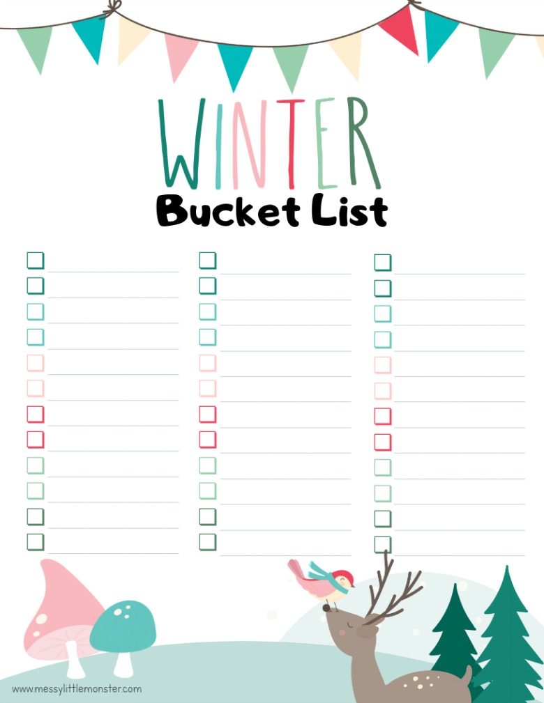 blank winter bucket list printable