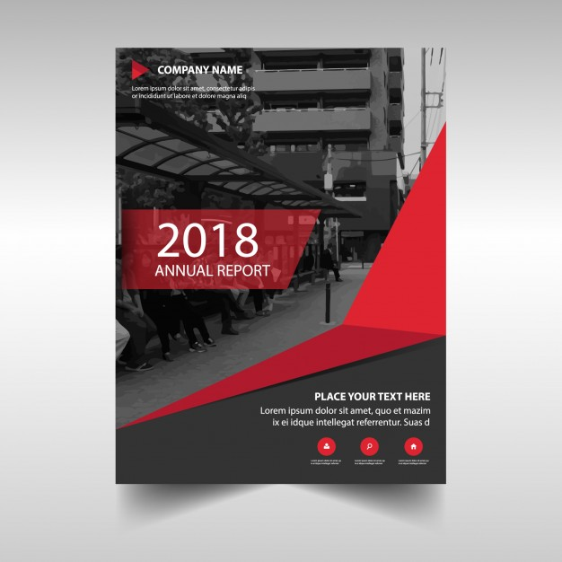 Red creative annual report cover template Free Vector