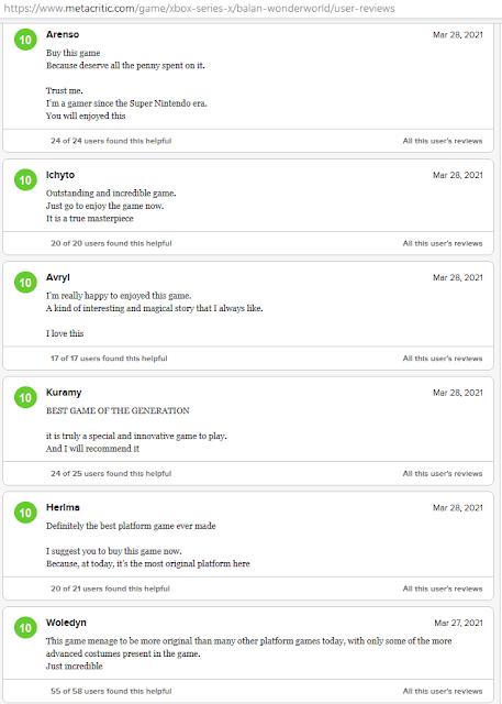 BALAN WONDERWORLD fake bot user reviews Metacritic Xbox Series X