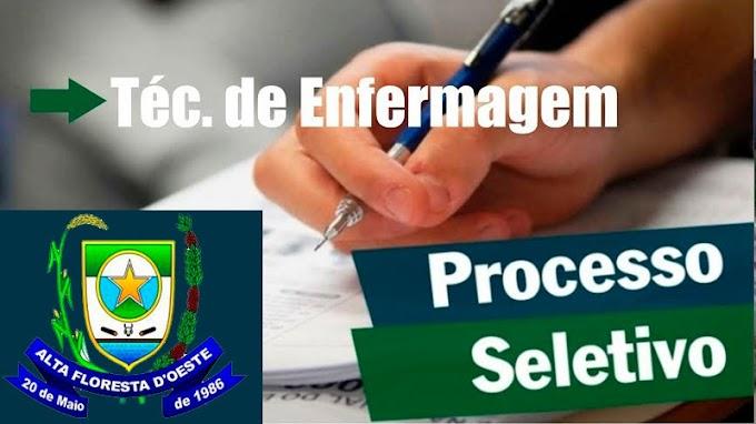 Prefeitura Municipal de Alta Floresta abre Edital de processo seletivo para contratação de Técnico em Enfermagem.