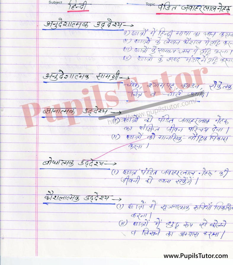 Jawahar Lal Nehru Ji Lesson Plan Plan in Hindi for B.Ed First Year - Second Year - DE.LE.D - DED - M.Ed - NIOS - BTC - BSTC - CBSE - NCERT Download PDF for FREE