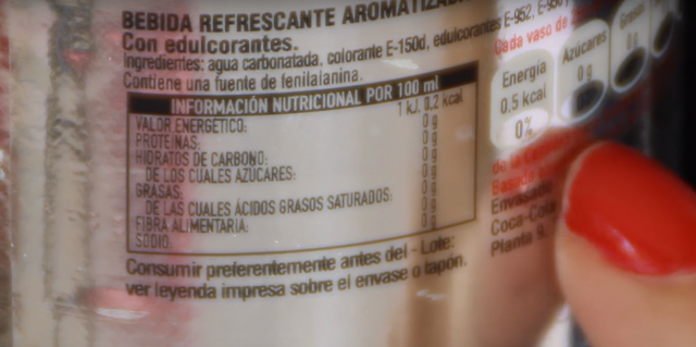 etiqueta, coca cola, light, cero, azucar