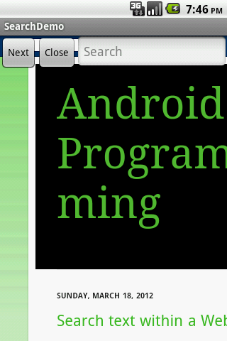 Android Programming: Search text within a WebView