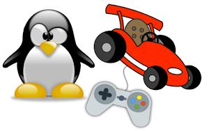 Pinguim Tux mascote do linux com um controle de jogo conectado ao um carro ao lado