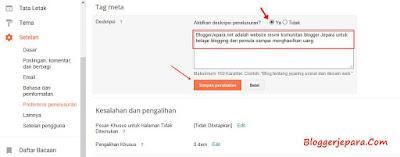 cara memasang deskripsi penelusuran di blog