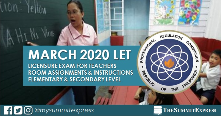 FULL LIST: LET Room Assignment March 2020 Teachers board exam