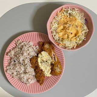 チキン南蛮,もち麦入り十六穀米