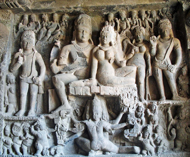 Stock Pictures: Ellora Frescoes and Sculptures