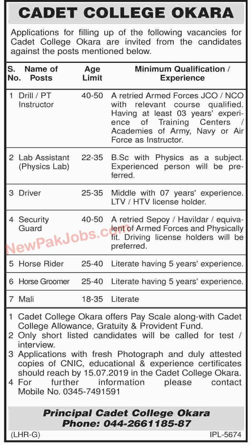 Cadet College Okara Latest Jobs 28 June 2019